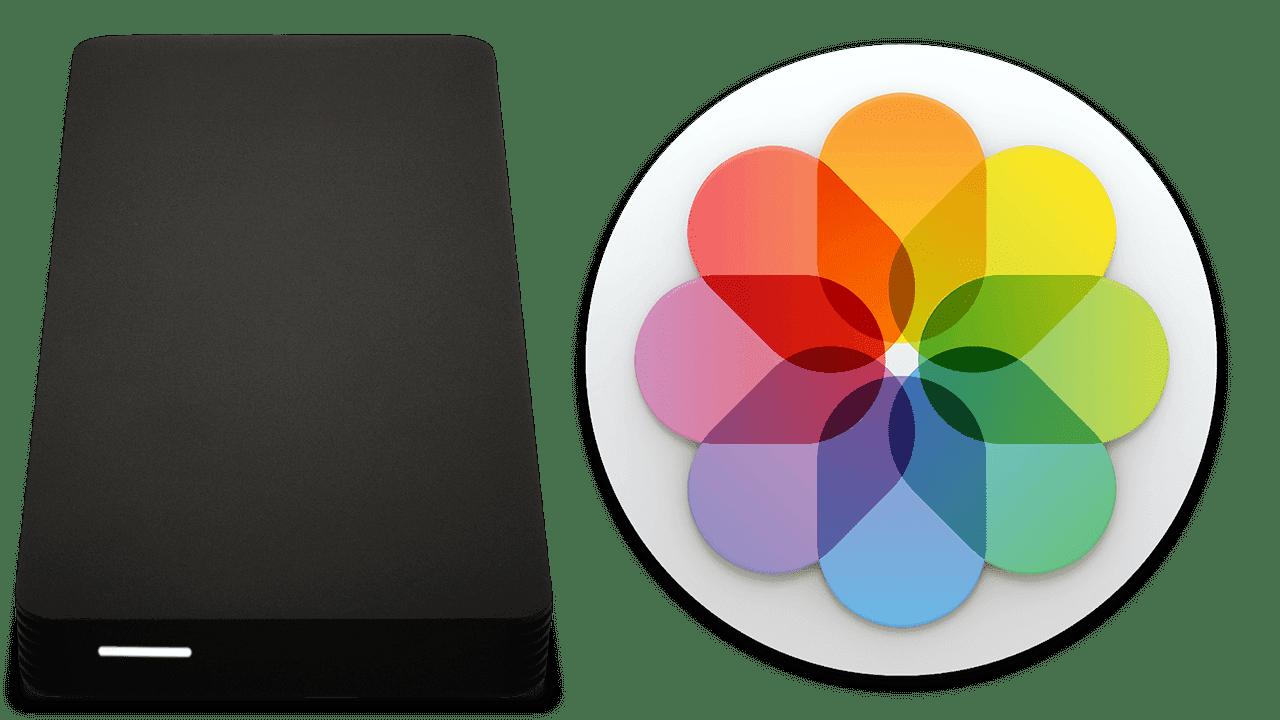 owc envoy pro external drive and macOS Photos logo