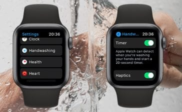 Hand under running water with two apple watch screens