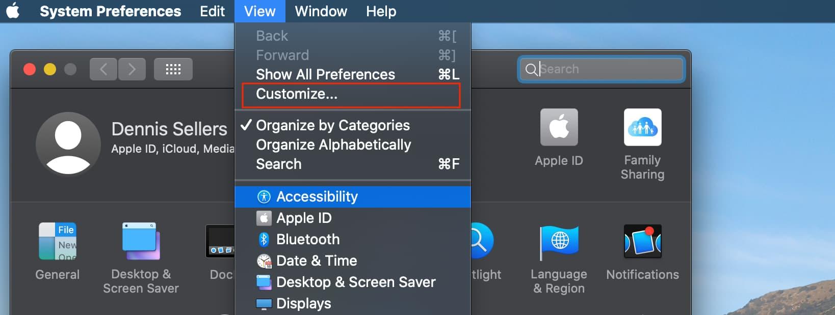 Screenshot of the System Preferences menu