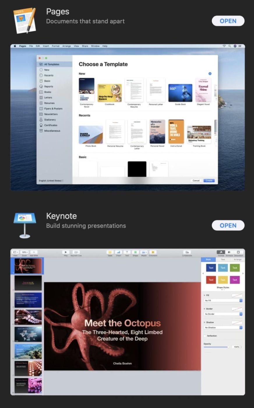 Pages, Numbers, and Keynote are available from the Mac App Store