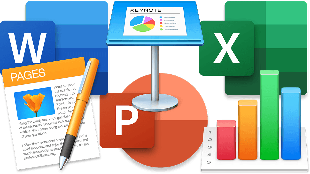Microsoft Word, Microsoft PowerPoint, Microsoft Excel, macOS Pages, macOS Keynote, macOS Numbers icons