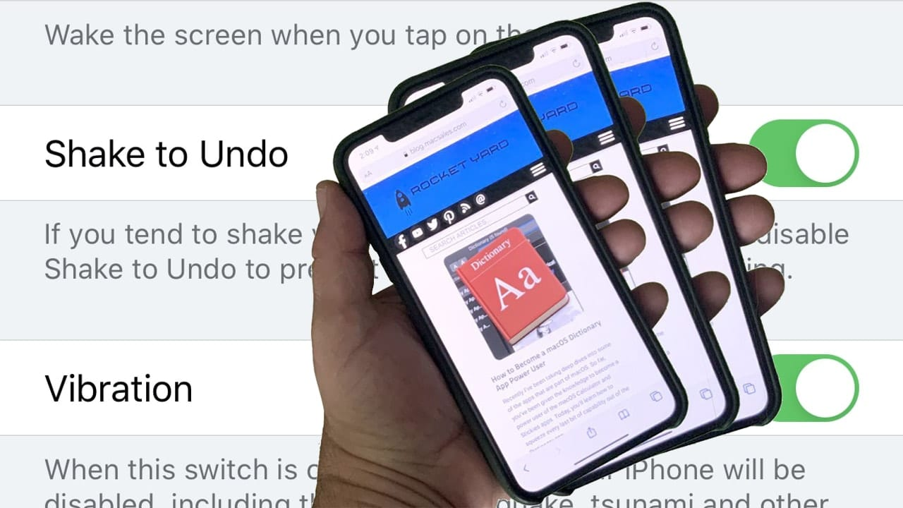 hand shaking iphone to undo