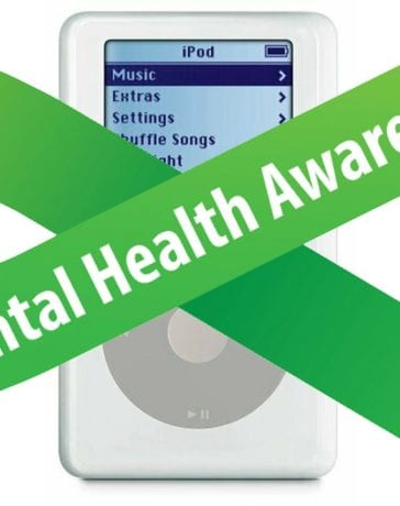 4th Gen iPod with Green Mental Health Awareness ribbon