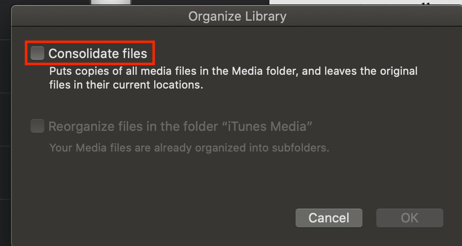 Organize library popup window in Mac music app