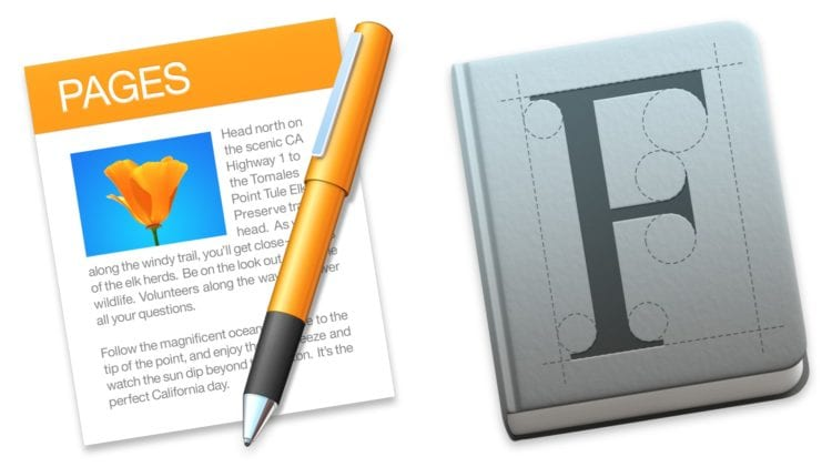 Pages and Font Book icons