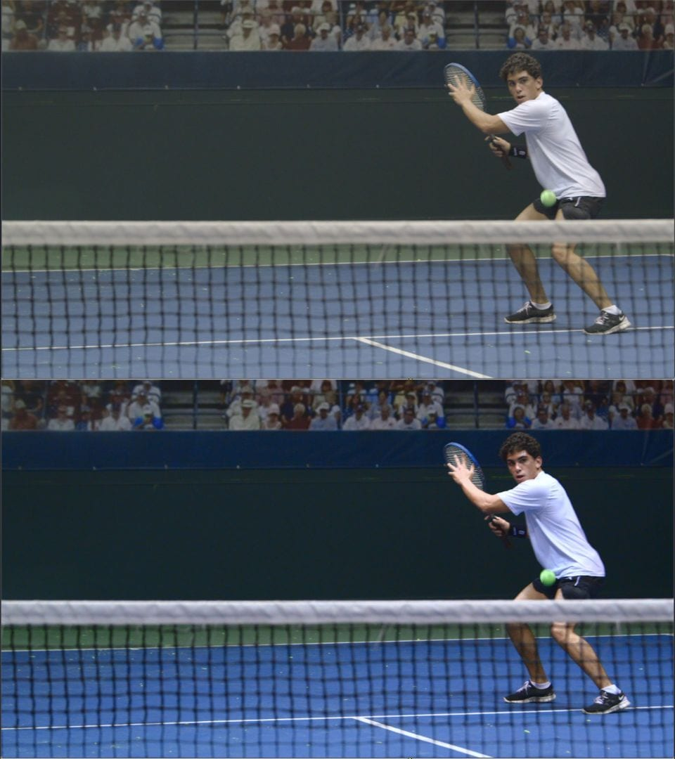 Before and after color image of a tennis player