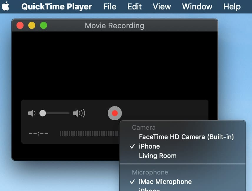 The QuickTime menu options for selecting camera and microphone