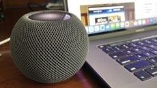HomePod mini on a desk next to a MacBook Air
