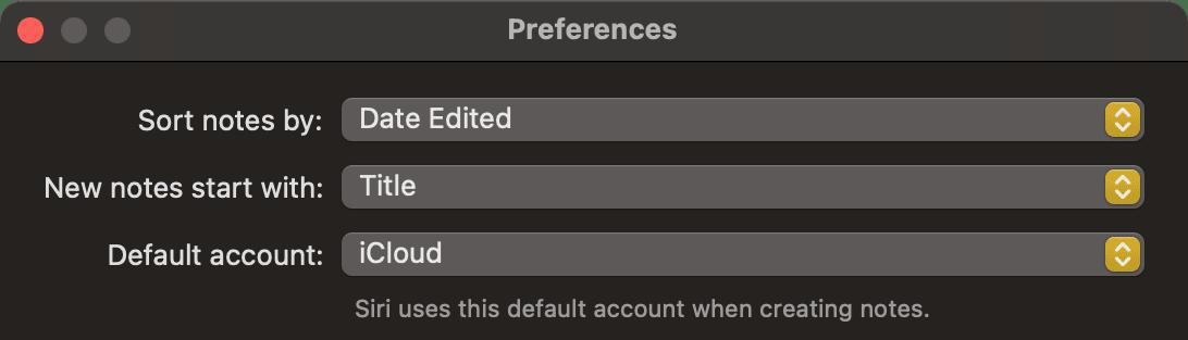 macOS Big Sur Notes app preferences