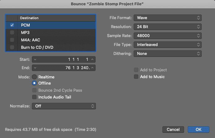 Sample Bounce Settings