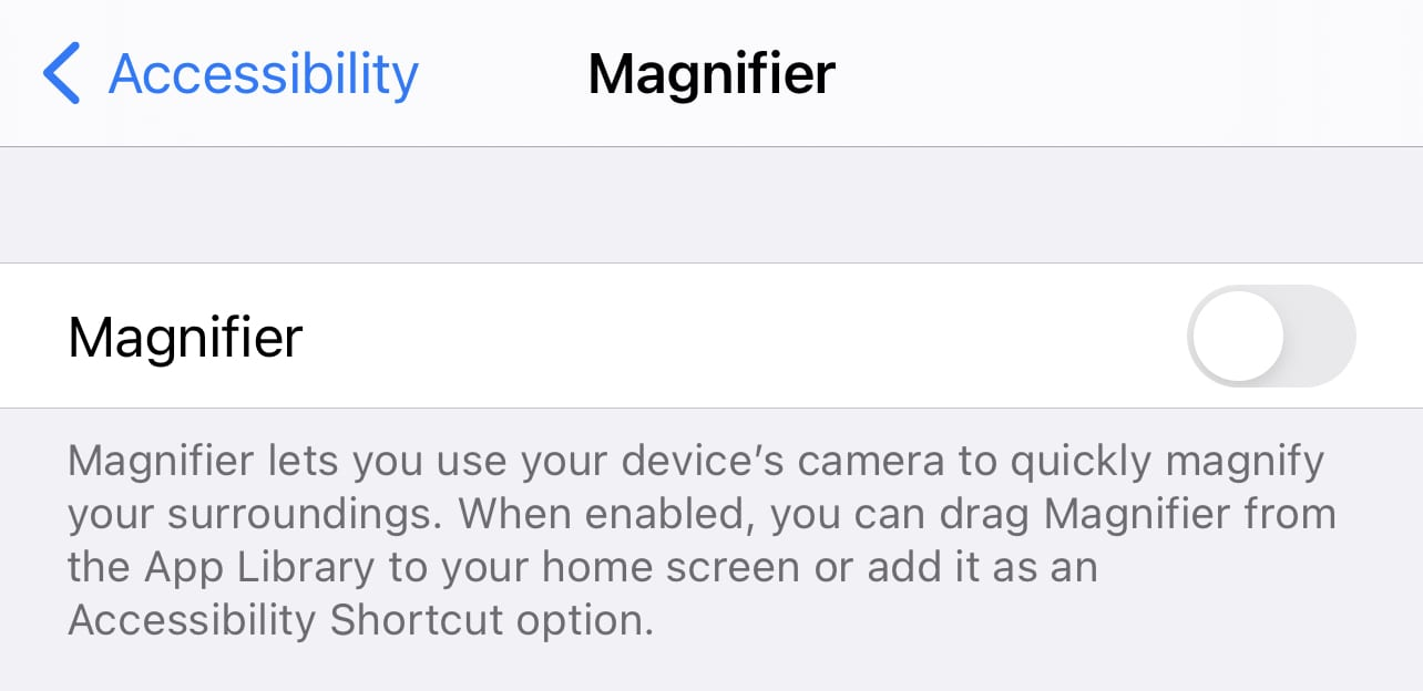 Tap the button at the right of Magnifier to enable the app