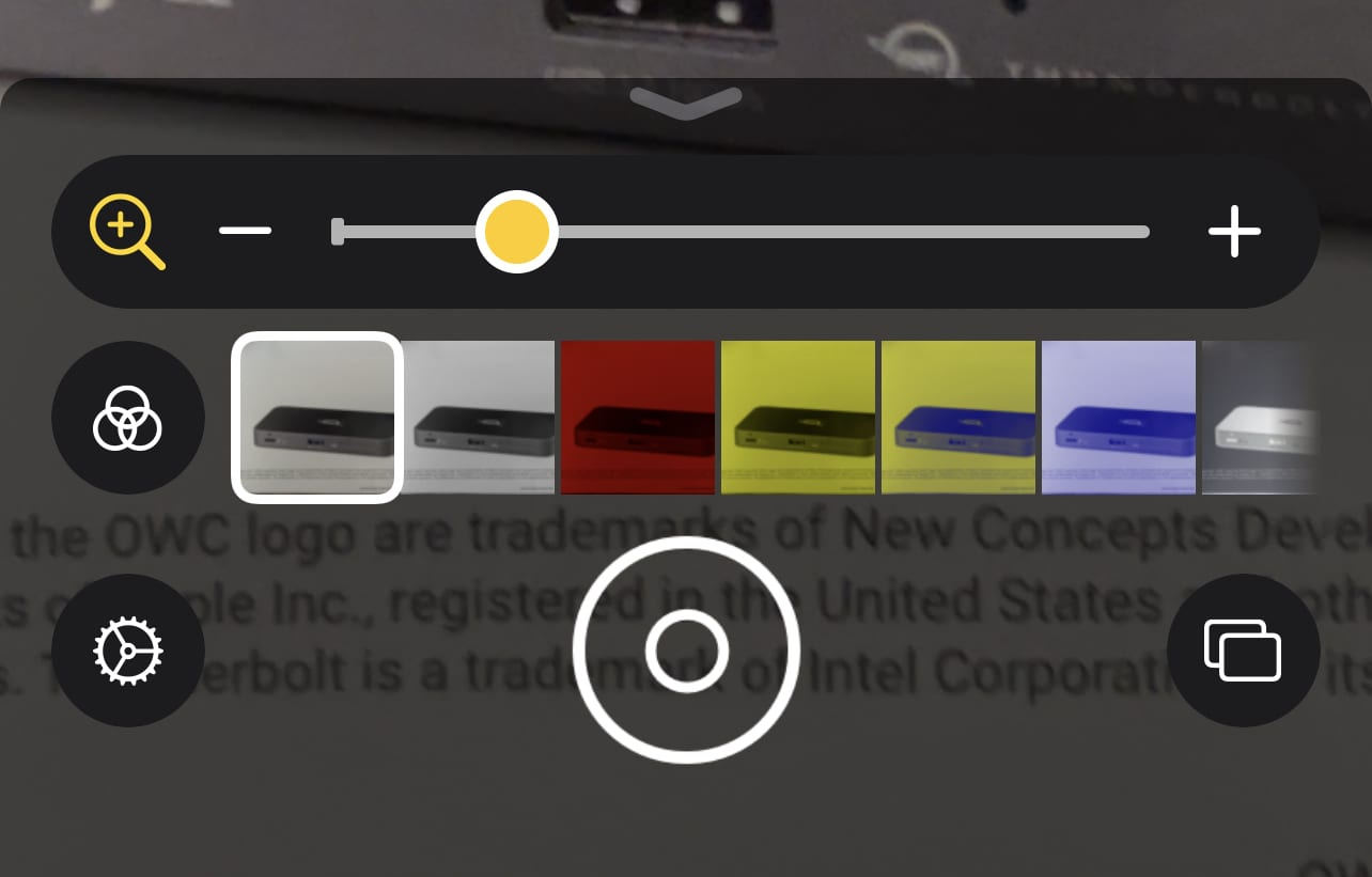 Filters available in the Magnifier app