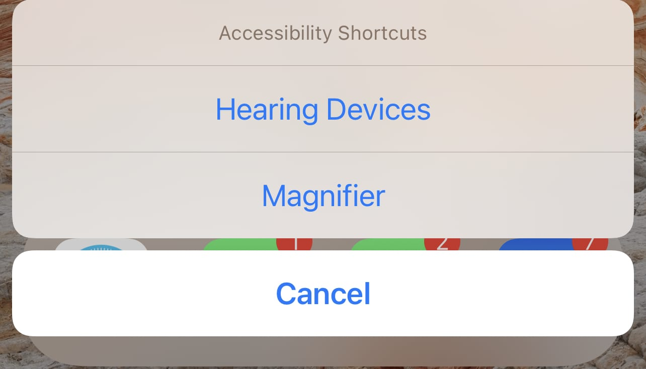 You may see more than one option for Accessibility Shortcuts