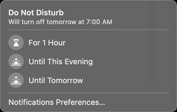 Do Not Disturb options in macOS Big Sur