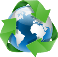 globe encircled with green recycle arows