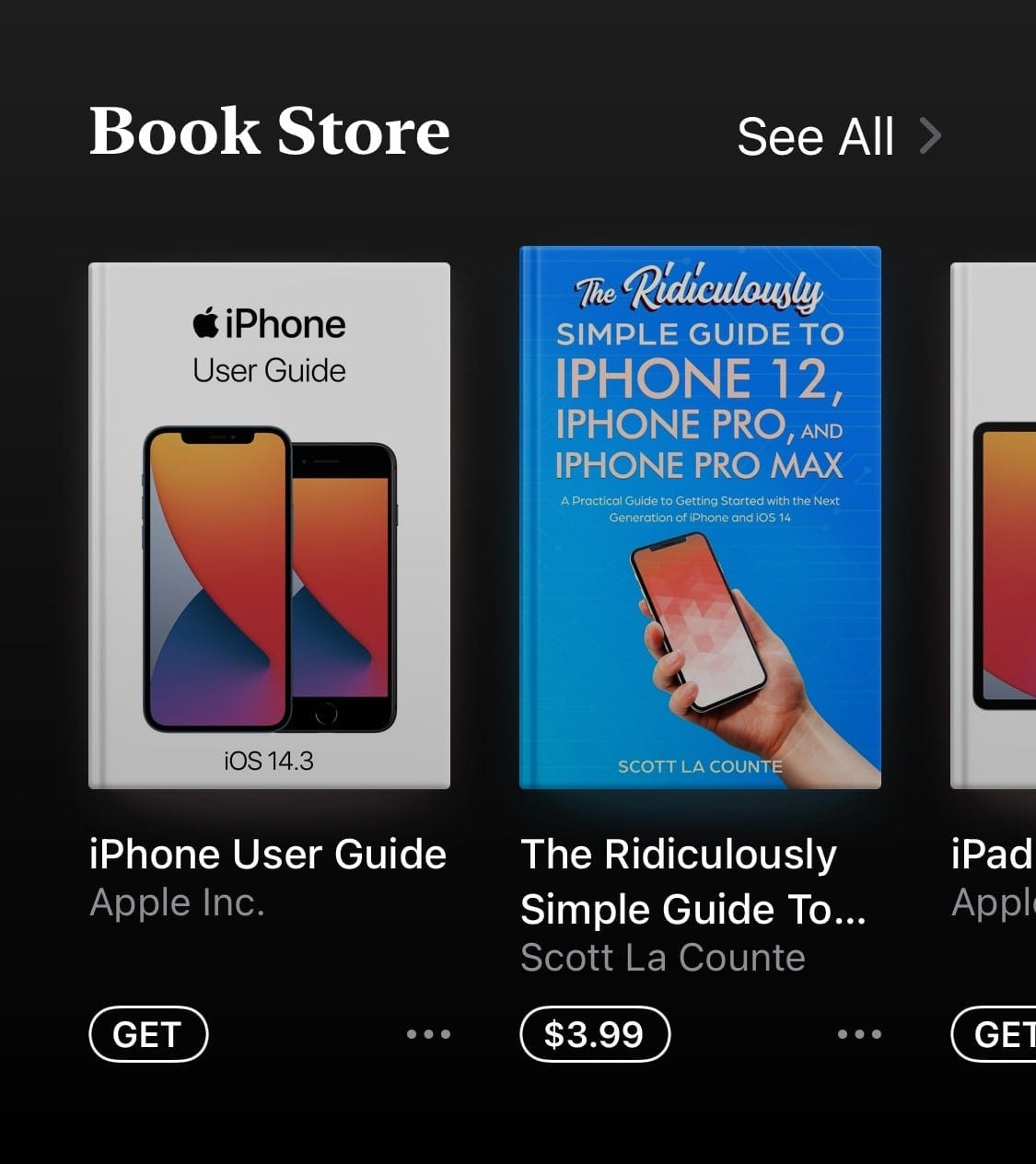 iBooks search results on iPhone