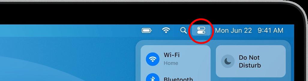 Location of control center icon in menubar of macos big sur