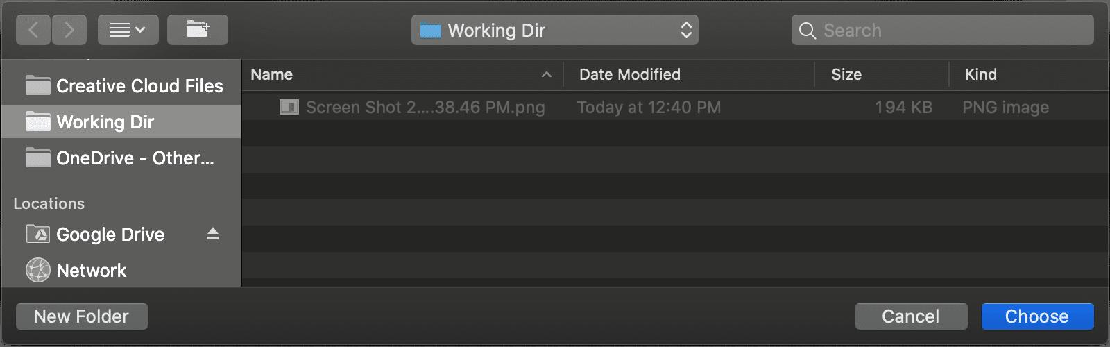 Folder chooser in macOS