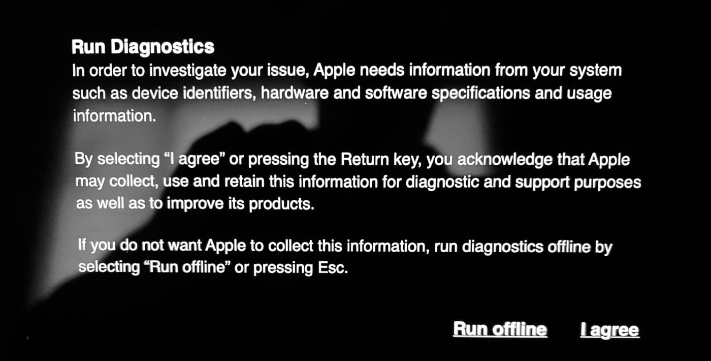 The Run Diagnostics screen on an M1 Mac