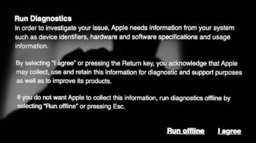 The run diagnostics screen on an M1 Mac