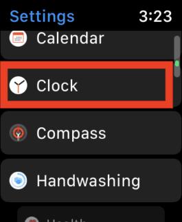 Clock Settings on Apple Watch