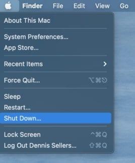 "Apple menu showing ""Shut Down..."" option selected"