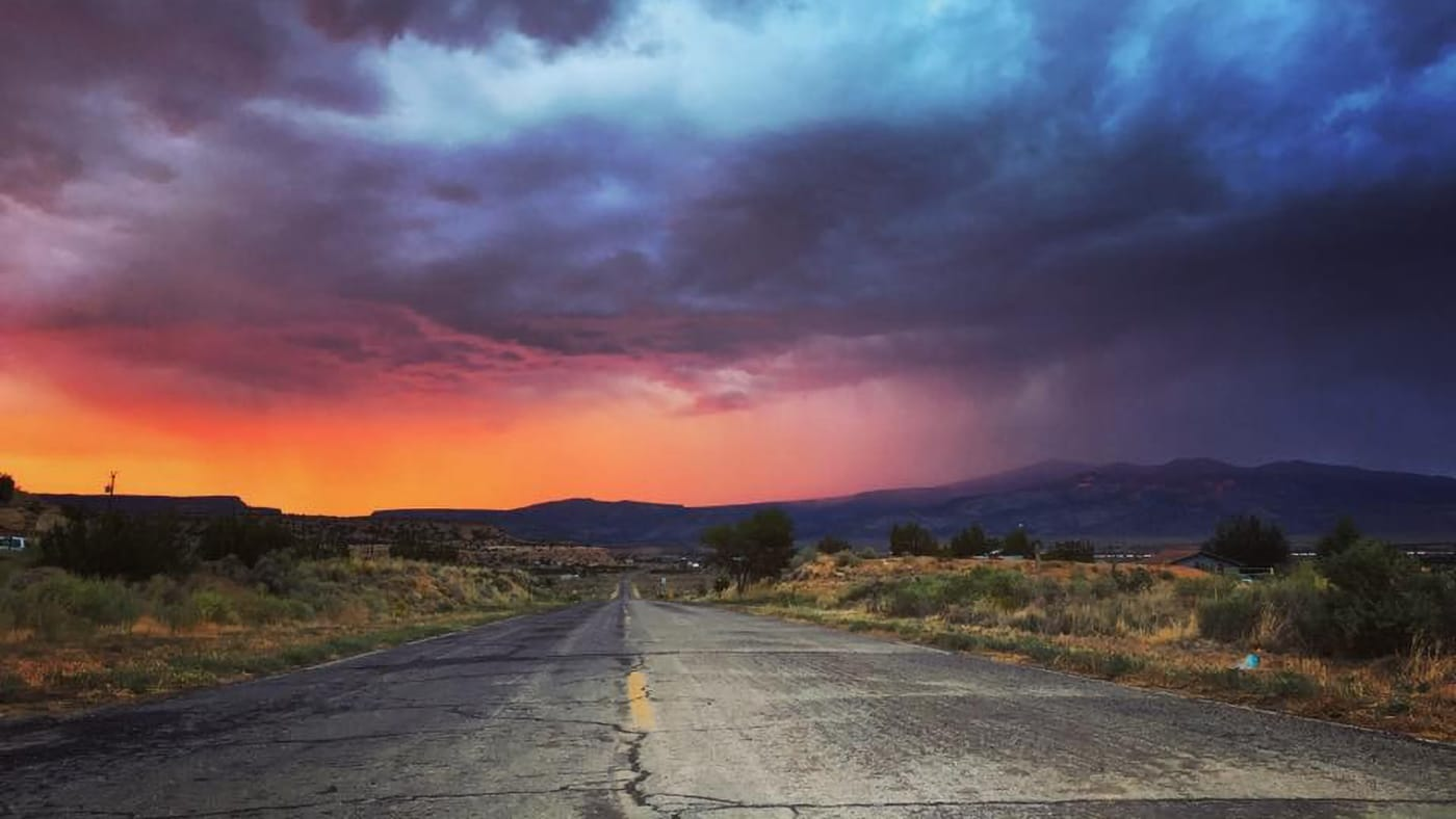 New Mexico desert road at sunset - photo by jonathan sims