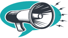 blue news megaphone