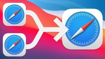 Two safari icons with merge arrow into one
