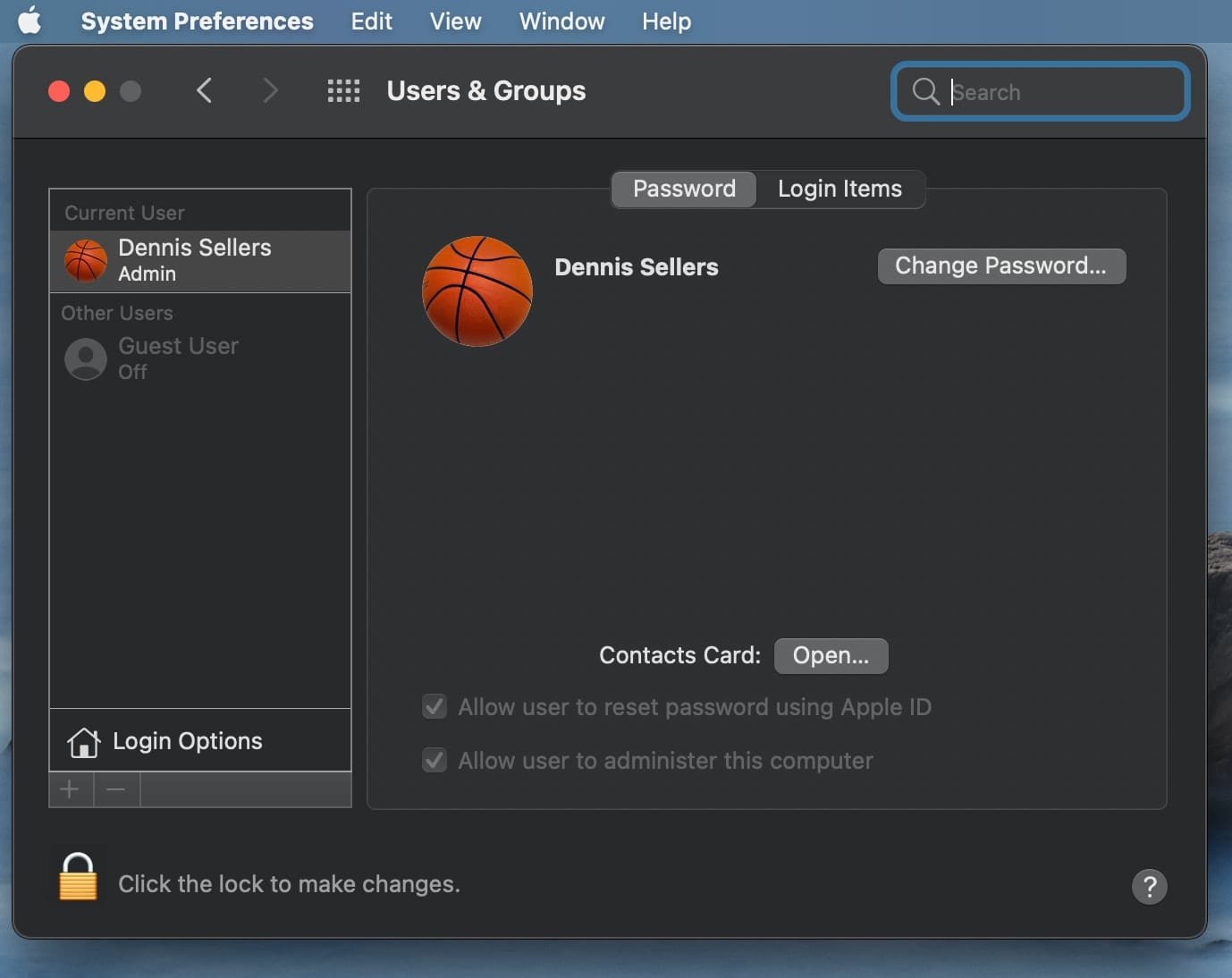 macOS Big Sur Users account Preferences
