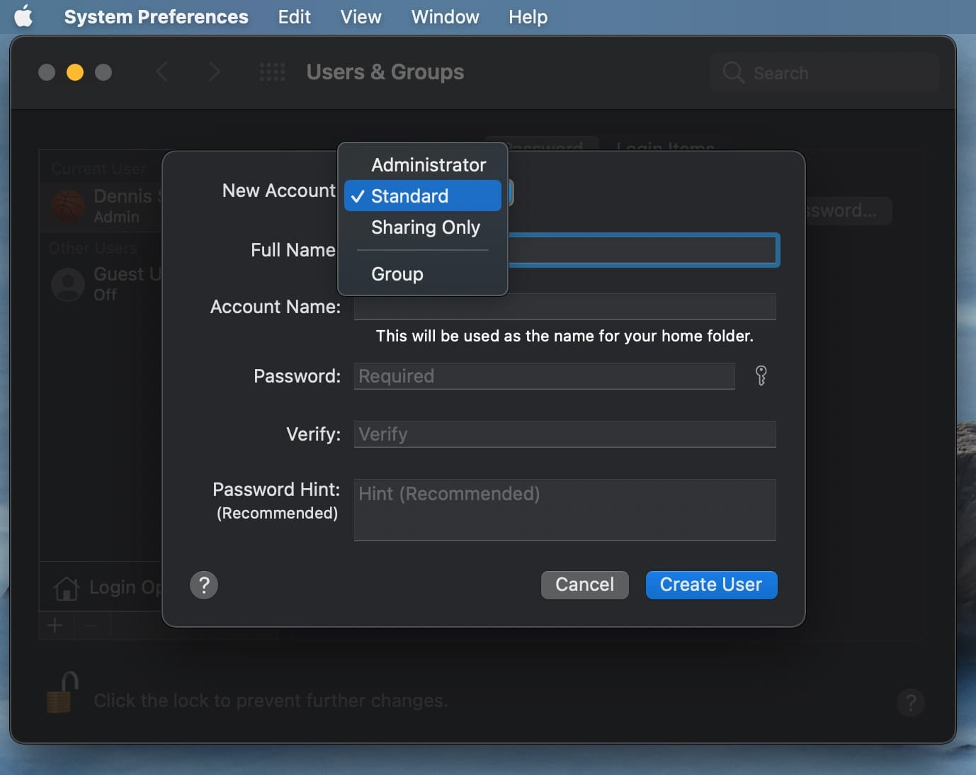 macOS Big Sur Users & Groups Preferences – Admin Account