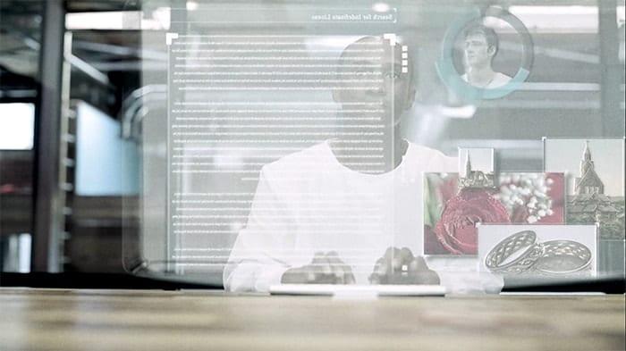 Man looking through a virtual terminal
