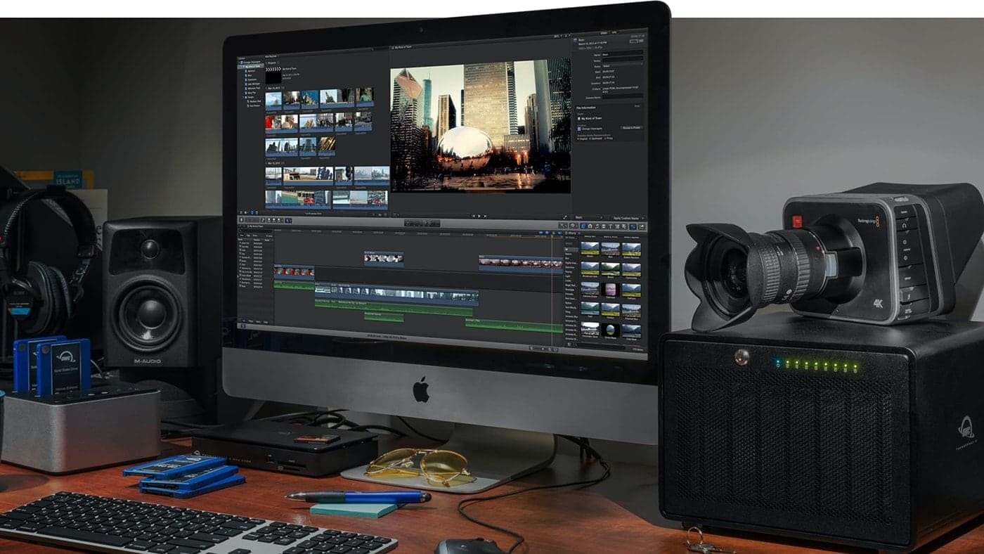 An OWC ThunderBay 8 on a desk next to an iMac and video camera