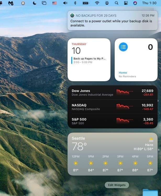Big Sur Notificatiuon Center showing widgets