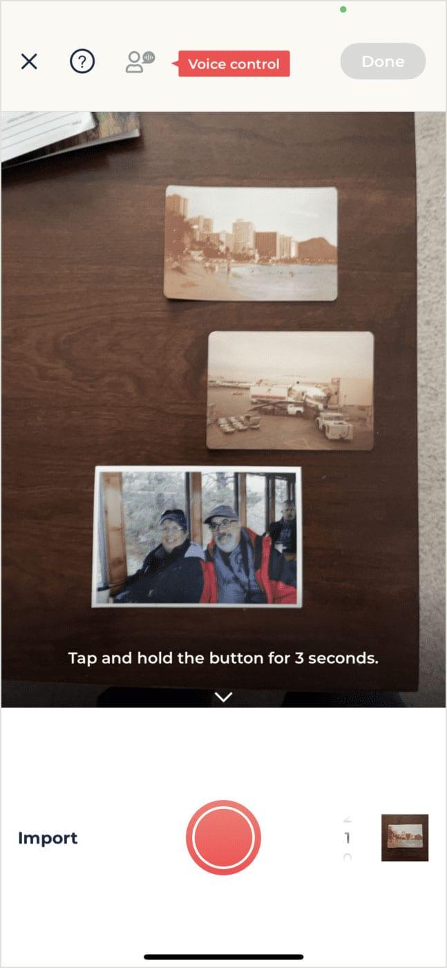 PhotoMyne's app can scan multiple photos at a time