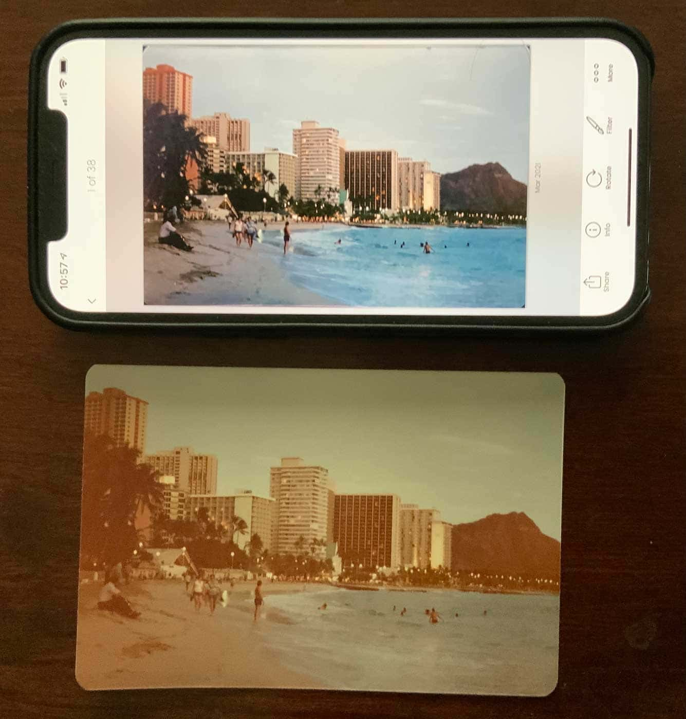 Photo Scanner Pro before (below) and after (above). The adjustments and cropping were done automatically.