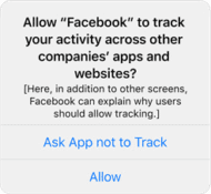 Allow Facebook to track activity across websites