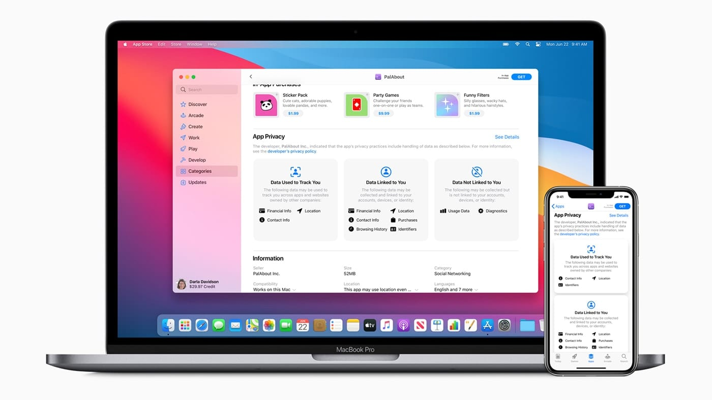 MacBook Pro and iPhone showing privacy app policy changes