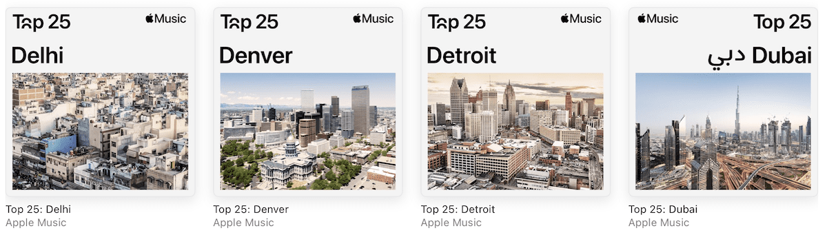 City Charts in Apple Music highlight the Top 25 tunes in over 100 cities