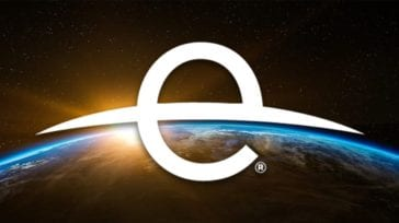 Earth Day logo over sunrise horizon image of the globe