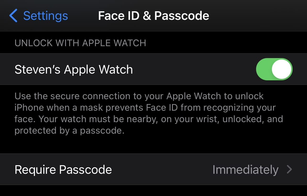 Be sure to enable Unlock with Apple Watch in Face ID & Passcode
