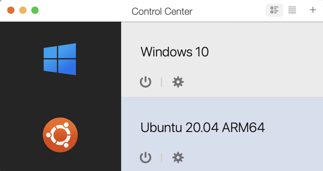 Two virtual machines -- Windows and Ubuntu Linux -- ready to power on in Parallels Desktop 16.5