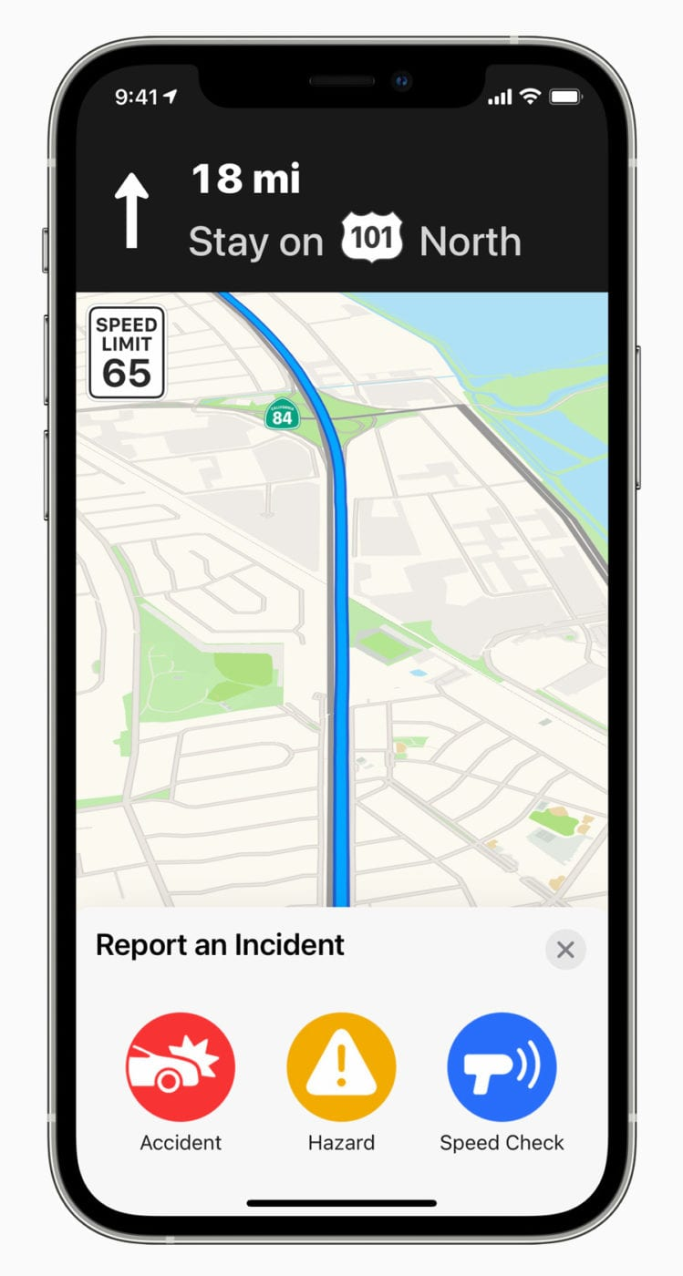 Maps users can now report an incident using Siri