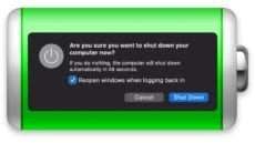 Sleep or Shutdown dialog box on green battery icon