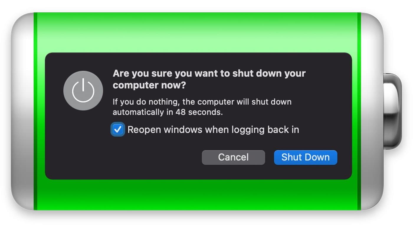 Sleep or Shutdown dialog box on green battery icon