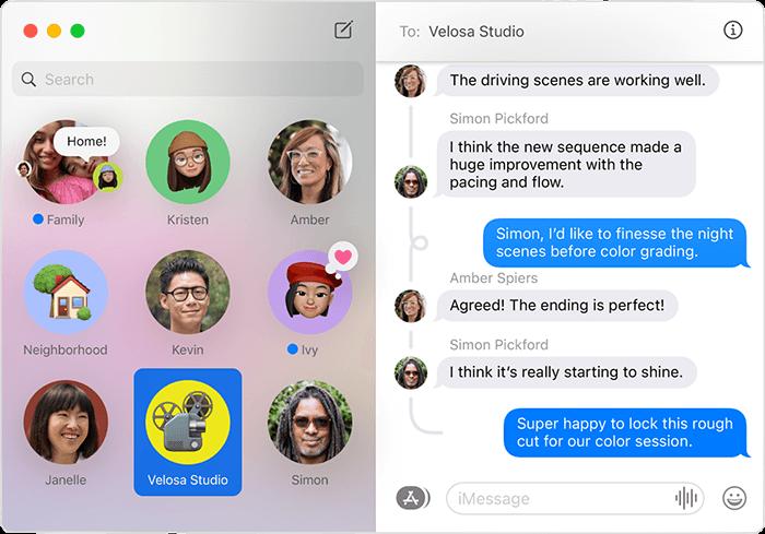 macOS Big Sur Messages inline replies