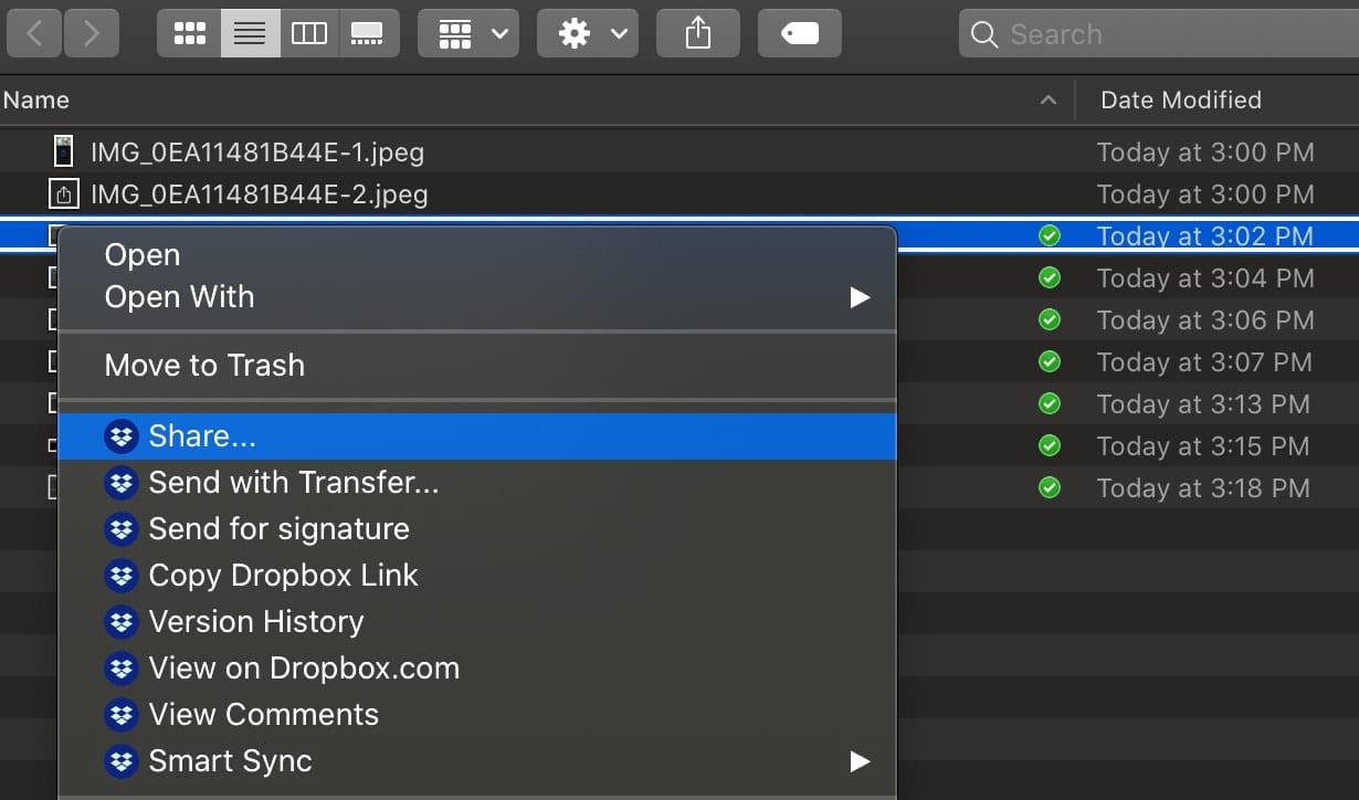 macOS Finder window showing Dropbox share menu