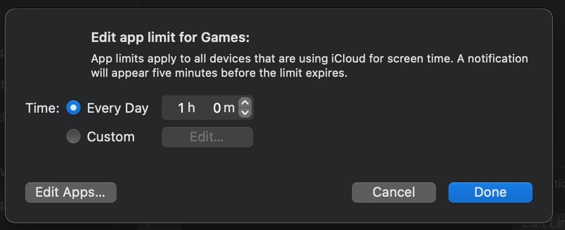 Edit App Limit window in macOS screen time preferences