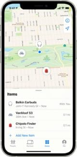 iphone12pro find my items screen