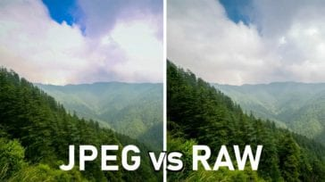 Image comparison of a mountain showing color difference between jpg and RAW